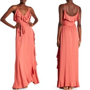 New Rachel Pally Pink Ruffle Wrap Maxi Dress XS